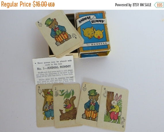 ON SALE Vintage Childrens Playing Cards-Animal Rummy-Russell-Complete