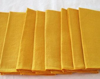 8 Vintage Cotton Linen Dinner Napkins Golden Yellow