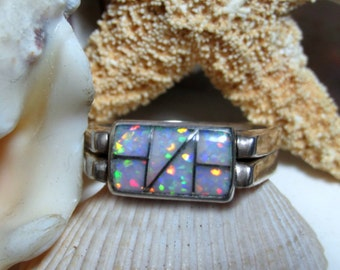 Sterling Silver Blue and White Opal Flip Ring Reversible Ring
