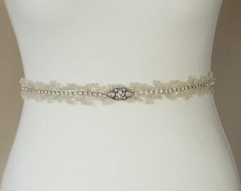 Wedding belt, Bridal belt, Vine Wedding dress belt, Bridal sash, Crystal belt, Rhinestone belt, Beaded sash, IvoryThin