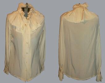 Vintage Rare Cream Ruffled Flounce Ascot Tie Neck Long Sleeve Buttoned Silk Blouse