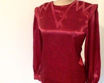 Lovey Deep Red Vintage Blouse