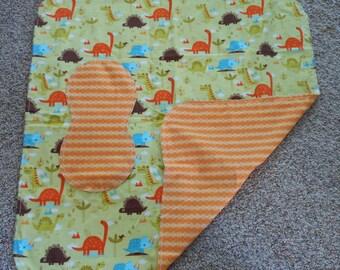 Hem Stitch Baby Boy Dinosaur - Flannel Receiving Blanket and Burp Cloth