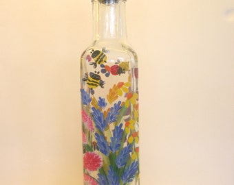 Hand Painted Glass Pour Bottle, Soap, Oil, Vinegar Bottle, Purple Pink Yellow Orange Blue Wildflowers  Ladybugs Bumblebees