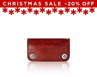 Christmas Sale -20% Off - - iPhone SE, iPhone 5 RETROMODERN aged leather wallet - - RED
