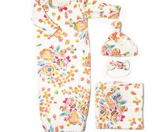 Baby Girl Take Home Set in Full Bloom - Swaddle Blanket, Knot Headband and Gown
