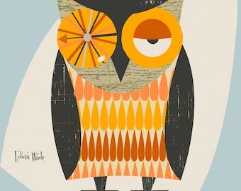 Mid Century Owl Modern Illustration