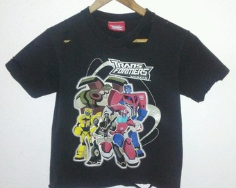 Transformers TShirt / Crop Top / Half Tee / Midriff Shirt / Cartoon Tee / Graphic Shirt / Distressed / Indie / Grunge / Rock N Roll / Foxy