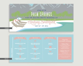 Palm Springs Resort Bachelorette Invitation with Itinerary - Personalized Printable File or Print Package - #00136-PI10