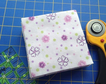 Flannel 5 Inch Fabric Squares, 40 Precut Squares, Rag Quilt Squares, Craft, Sewing Supply, Purple Flowers, Green Purple Dots, Soft Flannel