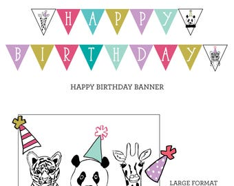 PARTY PACK - ZOO Party Animals Birthday Party Girls Polka Dot - Instant Download