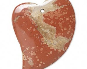 Pendant 49x38mm Heart Brecciated Jasper Gemstone