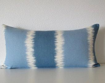 Thom Filicia Ikat Stripes Designer Lumbar Throw  Pillow Cover
