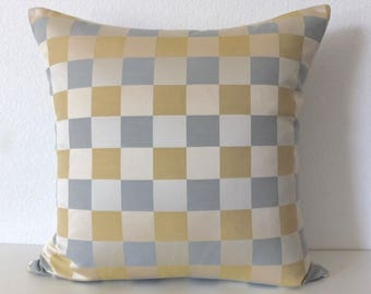 Checker Blue Gold Pillow Cover
