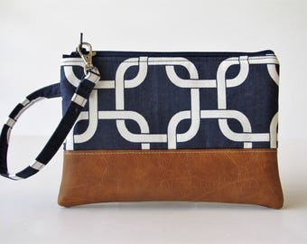 Navy Wristlet Wallet, iPhone wallet, Vegan Leather Clutch Purse, Cellphone Wristlet, Zipper Pouch, Boho Clutch,Gift For Her, Holiday Gift