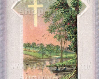 Instant Download Vintage Easter Card Reproduction Sunrise River Fishing with Cross