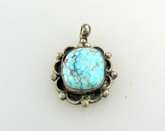 Native American (Navajo?) Sterling and Turquoise pendant.
