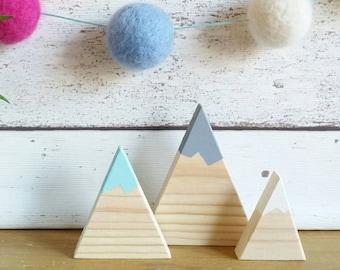 Wooden mountains, mountains set of 3, mountain shelfie, mountain nursery decor