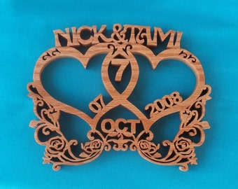 Anniversary Hearts Wooden Scroll Saw Plaque