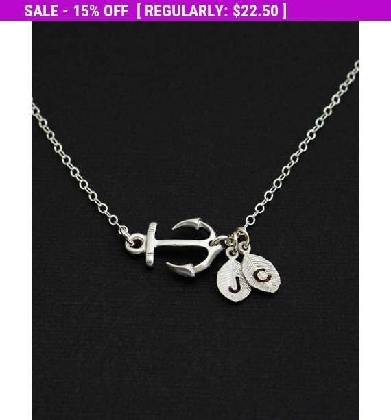 Spring SALE Friendship Initial Necklace, Personalized Silver Sideways Anchor Necklace, For Couples, Gifts under 30, Anchor Charm