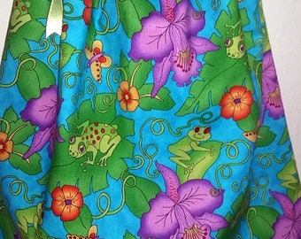 Summer Pillowcase Dress for Toddler 12- 18 Months in turquoise with butterflies, frogs and flowers, One of a kind.