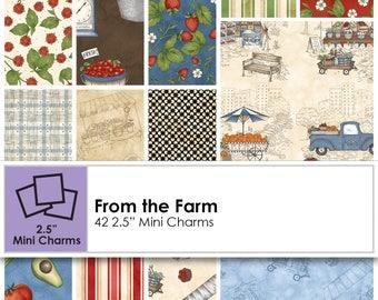 From The Farm (42) 2.5 inch Precut  Mini Charm Squares From Maywood Studios