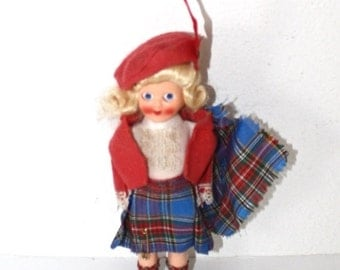 25% OFF SALE 1940s Souvenir Scottish Doll Vintage 40s 50s Scotch Collectible Display Doll Antique Foreign Travel Doll Hard Plastic Celluloid