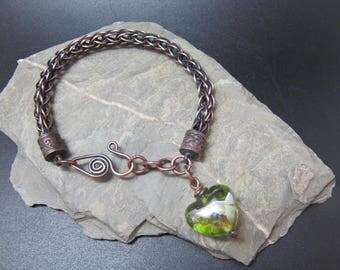 Handmade Copper and Lampwork Bracelet - Heart