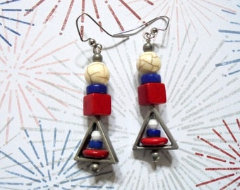 Red, White and Blue Patriotic Boho Earrings (3547)