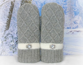 Gray & Ivory Wool Blend Women's Recycled Sweater Mittens