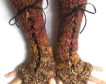 Fingerless Gloves Warm Corset Arm Warmers in Brown Clay Orange Mustard  Variegated Victorian Style