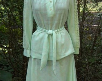 MaySale Vintage 70s Knit Shirt and Skirt in Mint Green