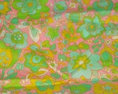 Semi Sheer 70s 80s Vintage Fabric Pink Green Yellow Blue Floral Print Man Made Fabric One 1 Yard X 44
