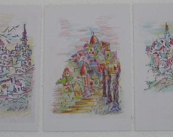 Set of 3 printed drawings in postcard size - The landscape of Jerusalem - pen with colors (set No. 1)