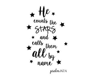 He Counts the Stars Psalm 147:4 SVG, Scripture SVG
