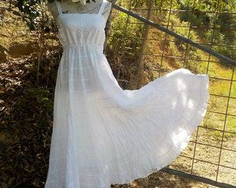 white cotton maxi dress - bohemian mex - upcycled - medium