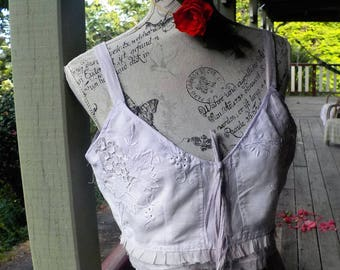 embroidered linen cropped top - arty boho cami - beach - festival - large