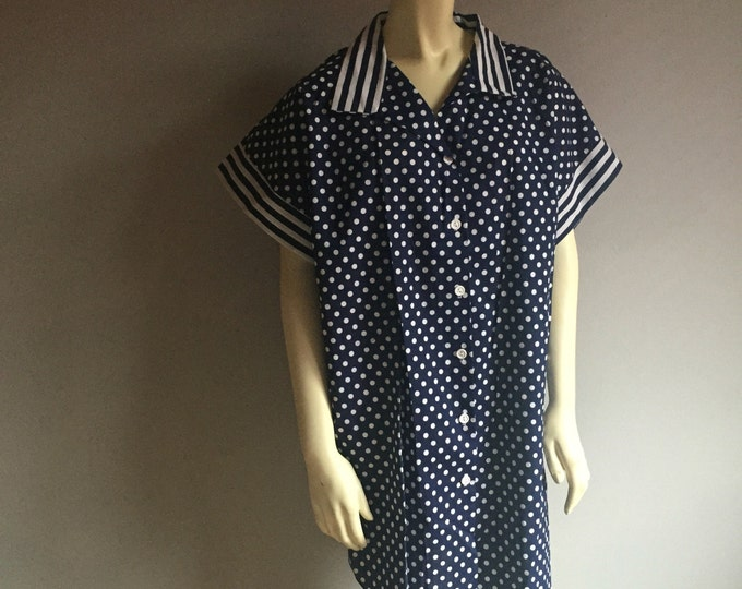 plus size polka dot shirt dress by Elizabeth Blair short sleeve button up nautical theme pin up striped collar 80s vintage kitsch hipster 2X