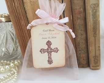 Girls Baptism Favor Set Organza Bags, Personalized Tags Set of 10 Christening First Communion  - Pink Cross