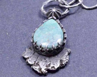 Turquoise  Necklace, Raw Silver, Boho, Sterling Silver, Organic Silver, Raw Variscite, Silversmith
