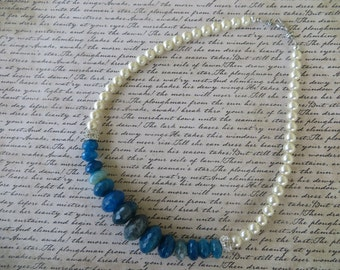 Faceted Blue Agate Cultured Pearl And Rhinestone Beaded Necklace