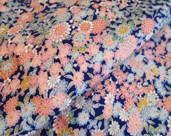 Japanese pure silk from Kyoto Navy Floral pattern No.2