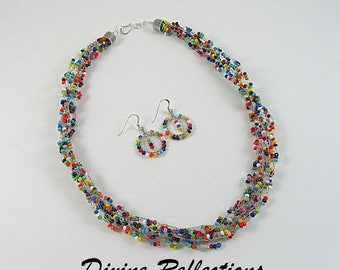 Multi Color Crochet Necklace, Crochet Necklace and Sterling Silver Earrings Set, Multi Strand Crochet Necklace