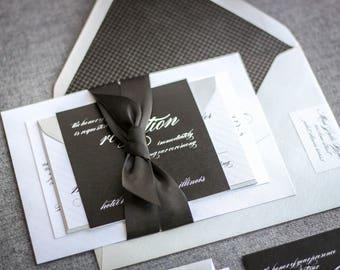 "Black and White Invitations, Black Tie Invite, Heart Wedding Invitation with Ribbon, Elegant Wedding Invitation - ""Modern Love"" FP-NL SAMPLE"