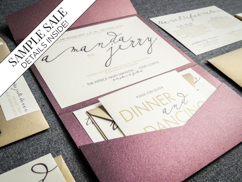 Calligraphy Wedding Invitations: Modern Calligraphy Wedding Invitations Purple Wedding