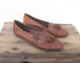 90s Vintage Italian Cole Haan Woven Tasseled Leather Loafers Ladies Size 10M