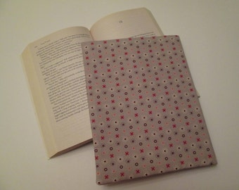 Floral polka dot paperback book cover, book sleeve, book protector, book pouch