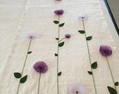 King Bed Runner White Linen & Lavender Poppies and Matching 4 Pillow Covers