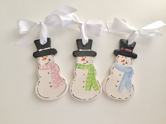 Snowman ornament, personalized ceramic Christmas ornament, Snowman lovers ornament, snowman ceramic ornament, snowman Christmas ornament