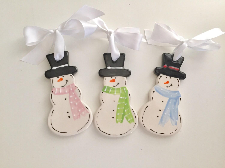Snowman Ornament, Personalized Ceramic Christmas Ornament, Snowman Lovers  Ornament, Snowman Ceramic Ornament, Snowman Christmas Ornament